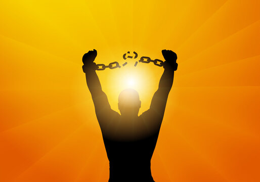 Freedom. Silhouette of man breaking chains in handcuffs. Vector illustration;
