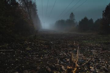 Linie wysokiego napięcia we mgle