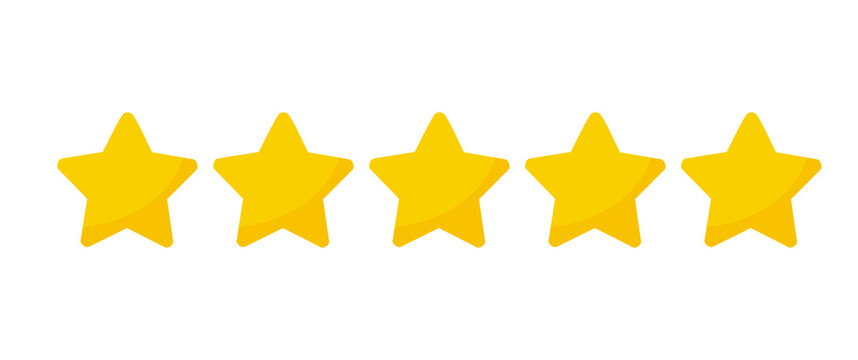 Yellow five stars quality rating icons.
