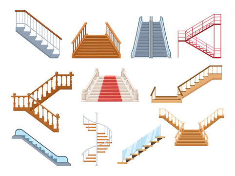 Wooden and metal staircase with handrails set. Wooden staircases covered with carpet, spiral staircase, store escalator, floor to floor ladder isolated cartoon