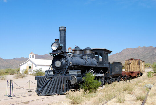 Old steam train in the Arizona desert