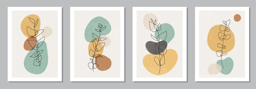 Set of minimalist posters with botanical branch and leaves abstract collage