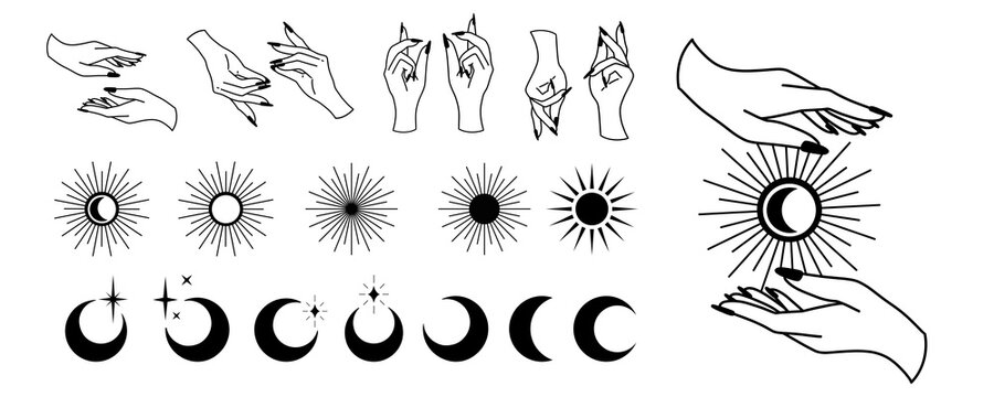 Line art of witch hands with celestial bodies, moon phases, crescent, sun, set of celestial bodies and mystic magical elements in vintage boho style. Female hand illustration