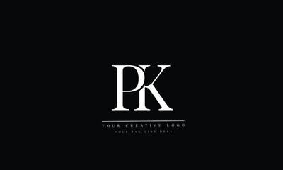 Obraz PK, KP, P, K, Letter Logo Design with Creative Modern Trendy Typography - fototapety do salonu