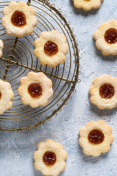 Homemade butter cookies with apricot jam. Top view.