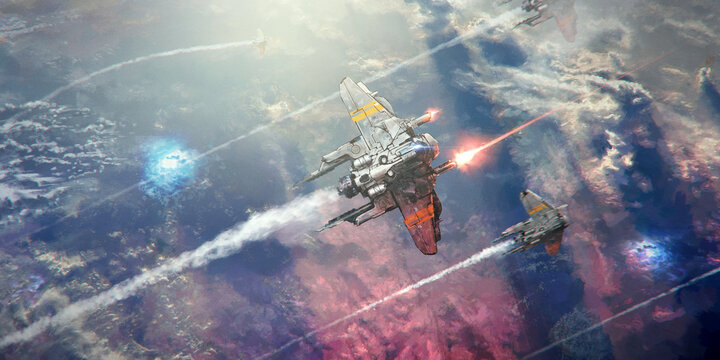 A spaceship flying above a planet with a sea of clouds, shooting lasers. In formation, another ship flies