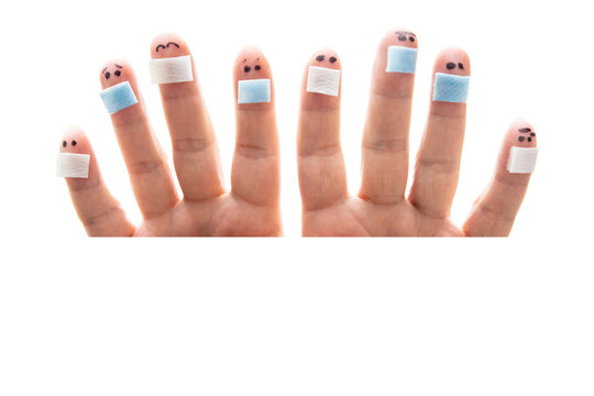 Eight fingers looking around white background, all figures wearing a surgical face mask