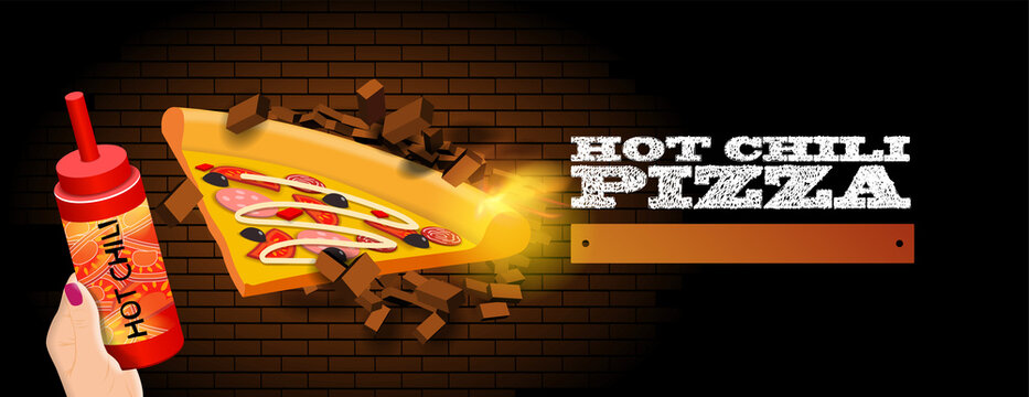 Banner for a fast food restaurant. a slice of spicy pizza smashes a brick wall