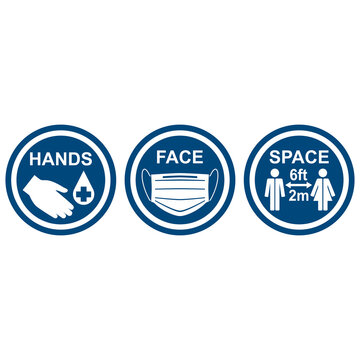 Round signs HANDS, FACE, SPACE. Medical infographics. Vector illustration.