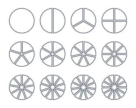 12 circles segments. Outline segmented round shapes set