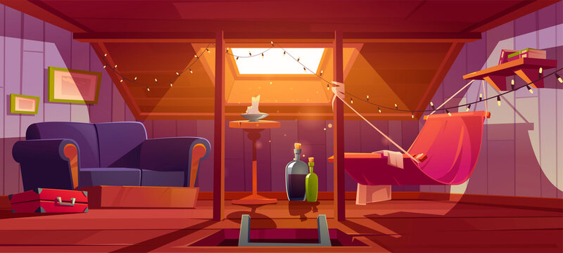 Cozy room on attic with hammock, sofa and window in roof. Vector cartoon interior of mansard for relax and recreation, garret lounge with book shelf, garland and wine bottles