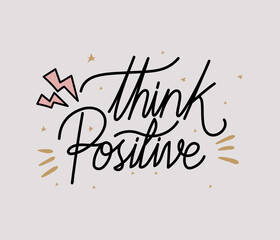 think positive lettering with colors