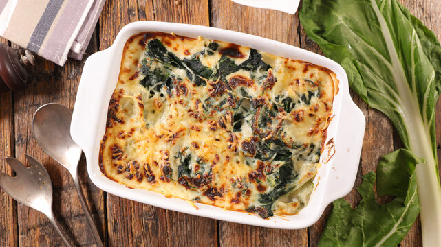 baked chard with cream and cheese- gratin