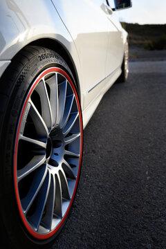 car wheel on a road