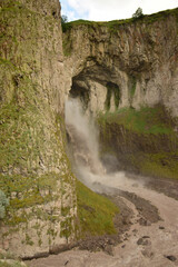 View of mountain waterfall Karakaya-su in rock in Dzhily-Su tract