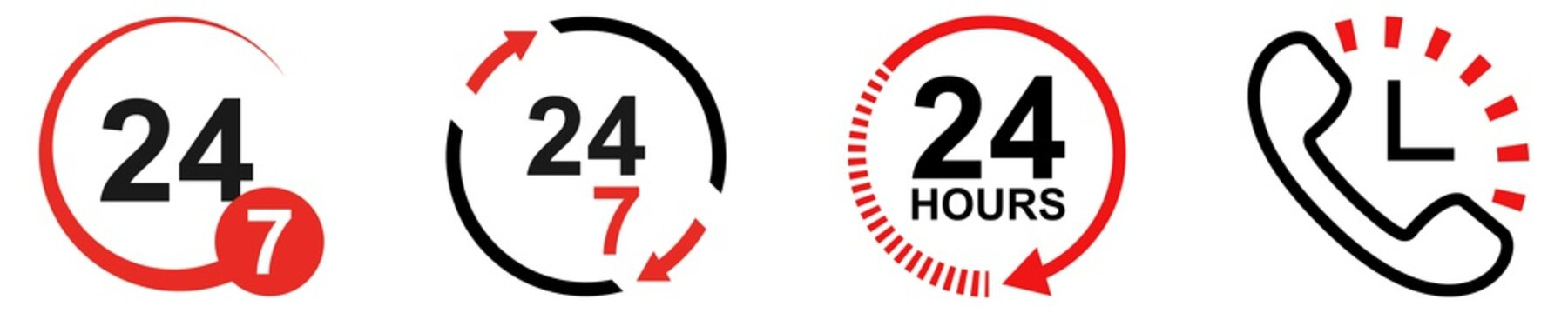 24/7 work hours set. Isolated 24 7 symbol on white background. Phone icon with clock sign. Open hours in a week. Customer support service. Twenty four seven vector illustration. EPS 10.