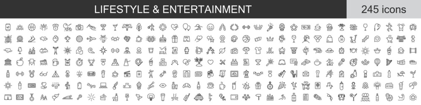 Big set of 245 Lifestyle and Entertainment icons. Thin line icons collection. Vector illustration
