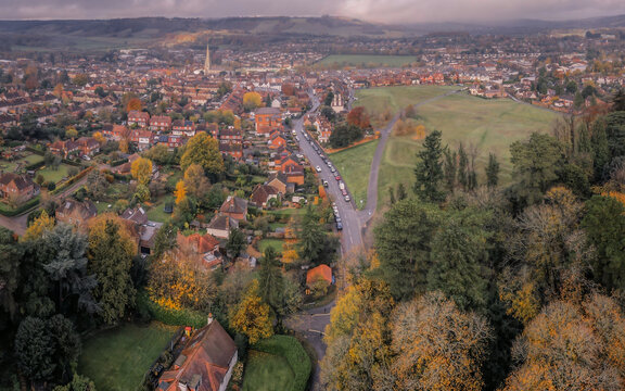 Aerial view of streets of houses in beautiful rural English market town