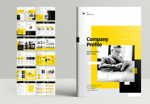 Company Profile Booklet Layout with Yellow Accents
