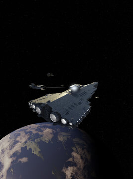 Fighter Attack on a Light Spaceship Battle Cruiser, 3d digitally rendered science fiction illustration