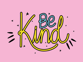 Fototapeta be kind lettering with colors