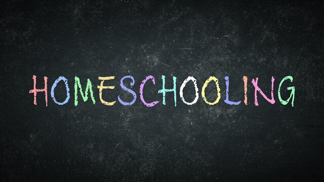 Term homeschooling on a rustic blackboard.