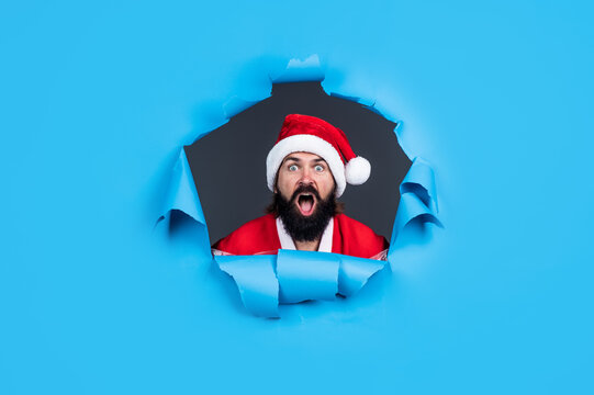 santa claus bearded man wish happy new year and merry christmas holiday ready to celebrate winter party with fun and joy full of xmas presents and gifts, new year eve