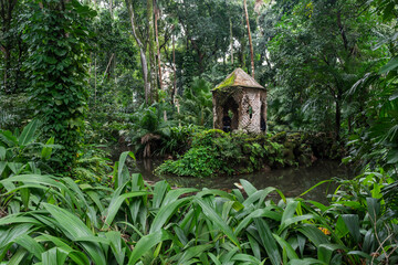 Beautiful view to small rustic pink gazebo on rainforest landscape