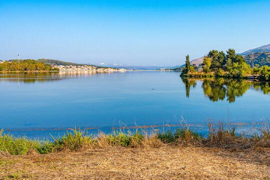 Panoramic view of koutavos lagoon and the Argostoli city in Kefalonia island, Greece