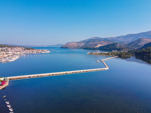 Aerial view of De Bosset bridge upon Koutavos lagoon in Argostoli, Kefallonia island, Greece