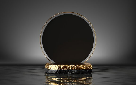 3d render, abstract modern minimal background with golden cobble platform, round black board and reflection in the water. Empty podium. Blank showcase mockup for product displaying