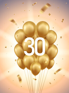 30th Year anniversary celebration background. Golden balloons and confetti with sunbeams in background.