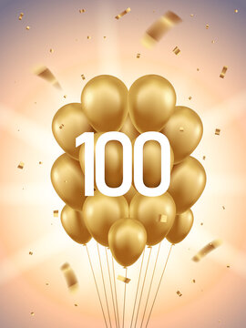 100th Year anniversary celebration background. Golden balloons and confetti with sunbeams in background.