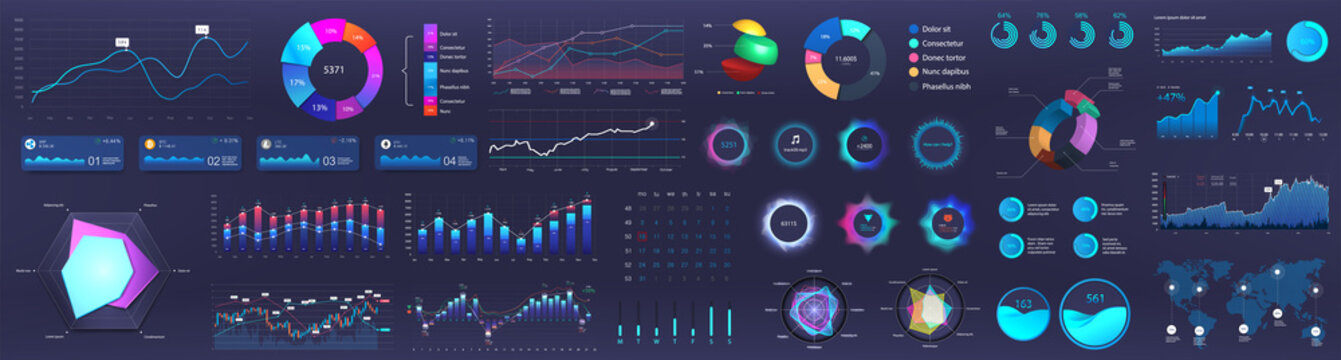 Dashboard infographic, charts, graph and graphic UI, UX, KIT elements. Info chart elements for online statistics and data analytics. Modern template dashboard. Mockup admin panel. Vector infographics