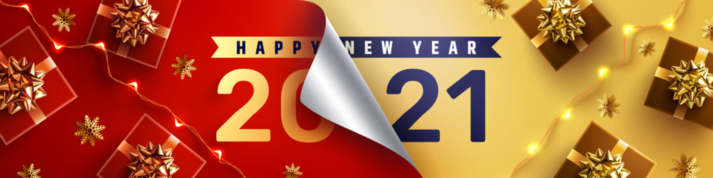 2021 Happy New Year Promotion Poster or banner with open gift wrap paper and gift box in red and gold colors.Change or open to new year 2021 concept.Promotion and shopping template for New Year 2021