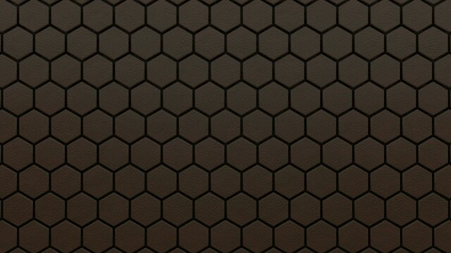 Abstract hexagonal background. A large number of brown leather hexagons. 3d wall texture, hexagonal blocks clusters. Cellular panel. 3d rendering geometric polygons