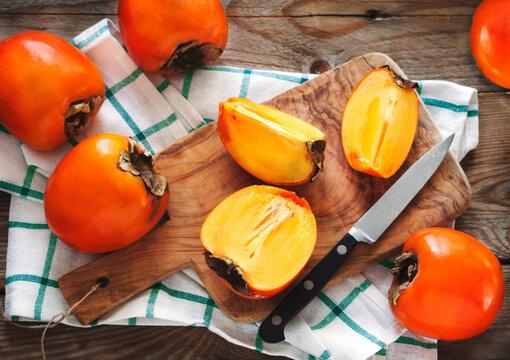 Fresh ripe persimmons.