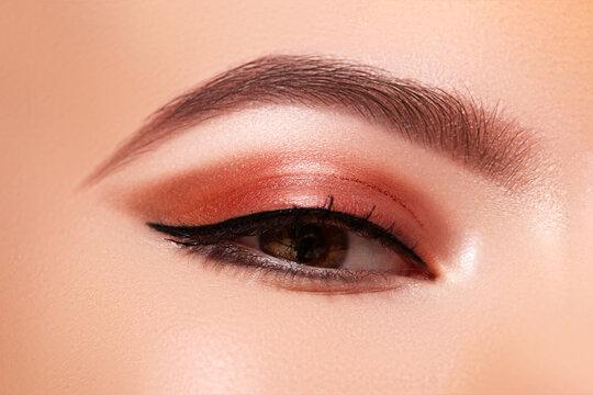 Beautiful Macro Shot of Female Eye with Classic Eyeliner Makeup. Perfect shape of eyebrows. Cosmetics and make-up