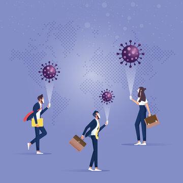 Digital technology online concept-Coronavirus smartphone application