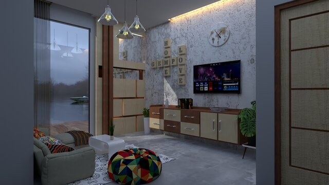 Living Room House At The Lake Area, 3D Design  SketchUp And Rendering Vray