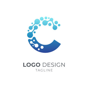 Letter C Molecule Atoms Logo, Dots Science Technology Logo Vector