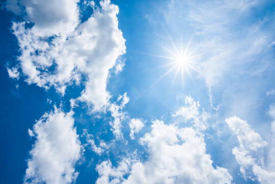 cloud and blue sky with sun background