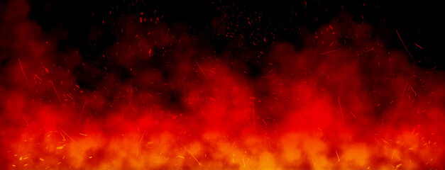 Abstract image of Orange fire or flames with sparkles and smoke in black background.