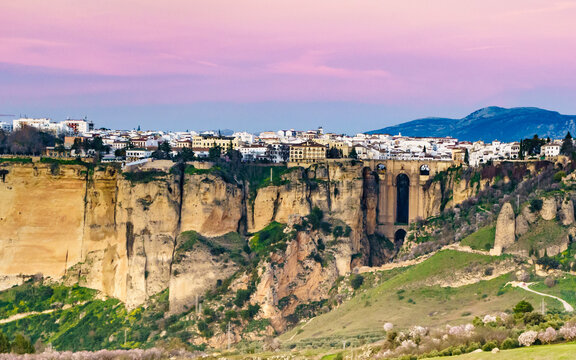 Ronda town and valley, Andalusia, Spain.