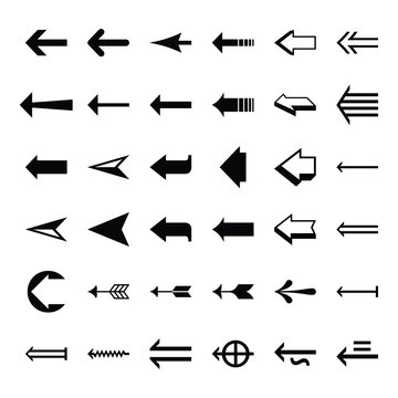 Set arrow icon. Collection different arrows sign. Set of flat icons, signs, symbols arrow for interface design, web design, apps and more. Arrows big black set icons. Arrow icon. Arrow vector