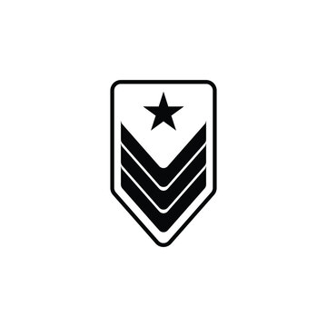 Military rank icon simple vector sign and modern symbol. Military rank vector icon illustration, isolated on white background. Military rank icon in flat design