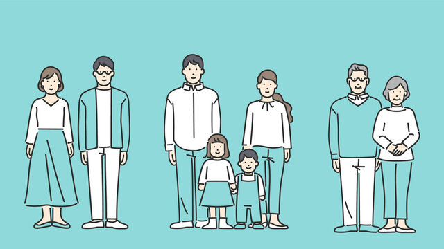 夫婦・家族の全身イラスト シンプルタッチ
