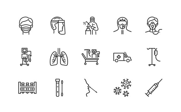 Covid-19 protection and medical test to detect it. Flat line icons set. Vector illustration included artificial lung ventilation, on faces in ppe. Editable strokes.