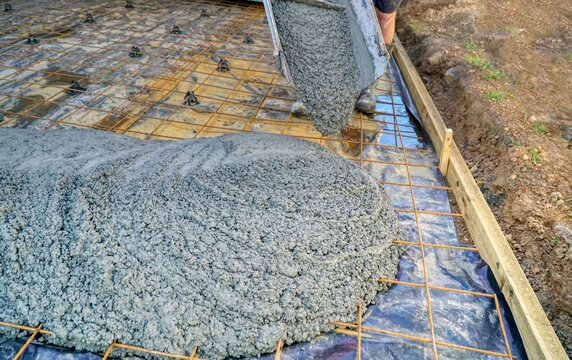 working concreting a path around a house