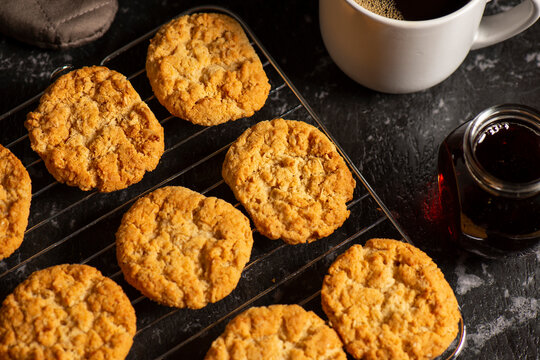 Delicious traditional Australian Anzac Biscuits, food background.